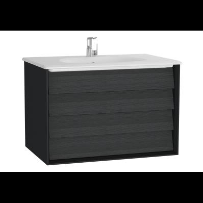 Frame Lavabo dolabı, çift çekmeceli, 80 cm, beyaz lavabolu, Mat Siyah