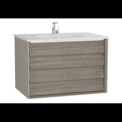 Frame Lavabo dolabı, çift çekmeceli, 80 cm, beyaz lavabolu, Mat Bej