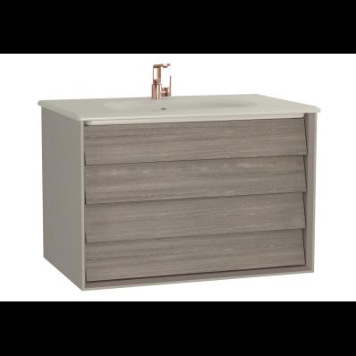 Frame Lavabo dolabı, çift çekmeceli, 80 cm, mat bej lavabolu, Mat Bej