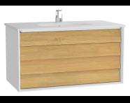 61232 - Frame Lavabo dolabı, çift çekmeceli, 100 cm, beyaz lavabolu, Mat Beyaz