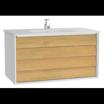 Frame Lavabo dolabı, çift çekmeceli, 100 cm, beyaz lavabolu, Mat Beyaz