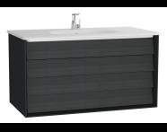 61233 - Frame Lavabo dolabı, çift çekmeceli, 100 cm, beyaz lavabolu, Mat Siyah