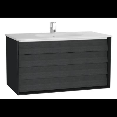 Frame Lavabo dolabı, çift çekmeceli, 100 cm, beyaz lavabolu, Mat Siyah