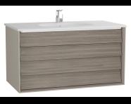 61234 - Frame Lavabo dolabı, çift çekmeceli, 100 cm, beyaz lavabolu, Mat Bej