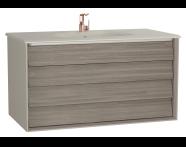 61235 - Frame Lavabo dolabı, çift çekmeceli, 100 cm, mat bej lavabolu, Mat Bej