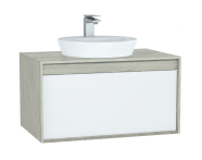 61281 - Metropole Washbasin Unit, 80 cm, with 1 drawer, Silver Oak