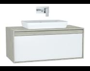 61282 - Metropole Washbasin Unit, 100 cm, with 1 drawer, Silver Oak