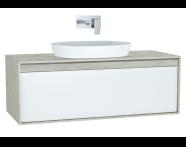 61283 - Metropole Washbasin Unit, 120 cm, with 1 drawer, Silver Oak