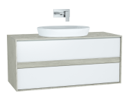 61286 - Metropole Washbasin Unit, 120 cm, with 2 drawers, Silver Oak