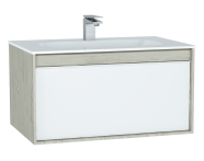 61287 - M-Line Infinit Washbasin Unit, 80 cm, with 1 drawer, with infinit washbasin, Silver Oak