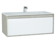 61288 - M-Line Infinit Washbasin Unit, 100 cm, with 1 drawer, with infinit washbasin, Silver Oak