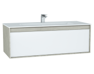 61289 - M-Line Infinit Washbasin Unit, 120 cm, with 1 drawer, with infinit washbasin, Silver Oak