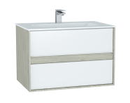 61290 - M-Line Infinit Washbasin Unit, 80 cm, with 2 drawers, with infinit washbasin, Silver Oak