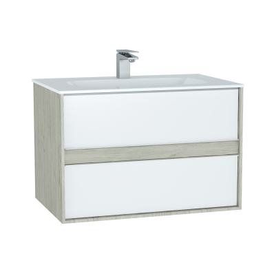 M-Line Infinit Washbasin Unit, 80 cm, with 2 drawers, with infinit washbasin, Silver Oak