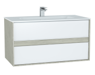 61291 - M-Line Infinit Washbasin Unit, 100 cm, with 2 drawers, with infinit washbasin, Silver Oak