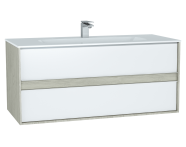 61292 - M-Line Infinit Washbasin Unit, 120 cm, with 2 drawers, with infinit washbasin, Silver Oak