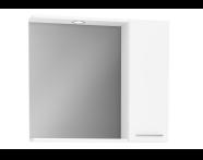 61446 - S20 Yandan Dolaplı Ayna, 80 cm, Parlak Beyaz