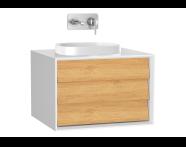 61451 - Frame Lavabo Dolabı, 60 cm, tek çekmeceli, tezgahüstü kare lavabolu, Mat Beyaz