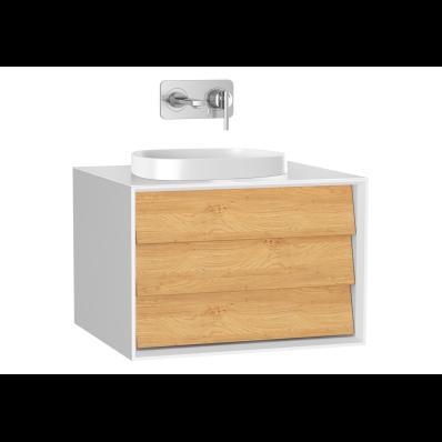 Frame Lavabo Dolabı, 60 cm, tek çekmeceli, tezgahüstü kare lavabolu, Mat Beyaz