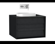 61452 - Frame Lavabo Dolabı, 60 cm, tek çekmeceli, tezgahüstü kare lavabolu, Mat Siyah