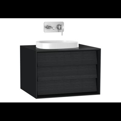Frame Lavabo Dolabı, 60 cm, tek çekmeceli, tezgahüstü kare lavabolu, Mat Siyah
