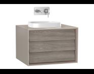 61453 - Frame Lavabo Dolabı, 60 cm, tek çekmeceli, tezgahüstü kare lavabolu, Mat Bej