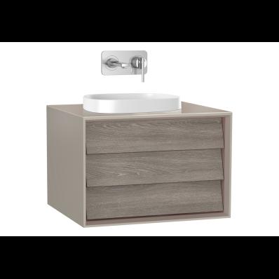 Frame Lavabo Dolabı, 60 cm, tek çekmeceli, tezgahüstü kare lavabolu, Mat Bej