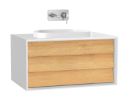 61454 - Frame Lavabo Dolabı, 80 cm, tek çekmeceli, tezgahüstü Tv-shape lavabolu, Mat Beyaz