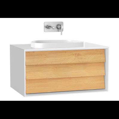 Frame Lavabo Dolabı, 80 cm, tek çekmeceli, tezgahüstü Tv-shape lavabolu, Mat Beyaz