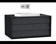 61455 - Frame Lavabo Dolabı, 80 cm, tek çekmeceli, tezgahüstü Tv-shape lavabolu, Mat Siyah