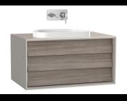 61456 - Frame Lavabo Dolabı, 80 cm, tek çekmeceli, tezgahüstü Tv-shape lavabolu, Mat Bej