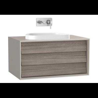 Frame Lavabo Dolabı, 80 cm, tek çekmeceli, tezgahüstü Tv-shape lavabolu, Mat Bej