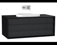 61458 - Frame Lavabo Dolabı, 100 cm, tek çekmeceli, tezgahüstü Tv-shape lavabolu, Mat Siyah