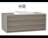 61459 - Frame Lavabo Dolabı, 100 cm, tek çekmeceli, tezgahüstü Tv-shape lavabolu, Mat Bej