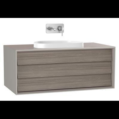 Frame Lavabo Dolabı, 100 cm, tek çekmeceli, tezgahüstü Tv-shape lavabolu, Mat Bej