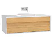 61460 - Frame Lavabo Dolabı, 120 cm, tek çekmeceli, tezgahüstü Tv-shape lavabolu, Mat Beyaz