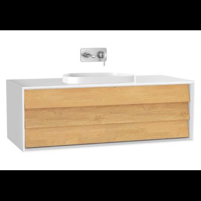 Frame Lavabo Dolabı, 120 cm, tek çekmeceli, tezgahüstü Tv-shape lavabolu, Mat Beyaz