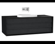 61461 - Frame Lavabo Dolabı, 120 cm, tek çekmeceli, tezgahüstü Tv-shape lavabolu, Mat Siyah