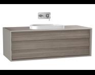 61462 - Frame Lavabo Dolabı, 120 cm, tek çekmeceli, tezgahüstü Tv-shape lavabolu, Mat Bej