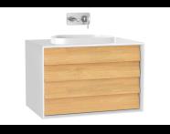 61463 - Frame Lavabo Dolabı, 80 cm, çift çekmeceli, tezgahüstü Tv-shape lavabolu, Mat Beyaz