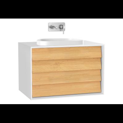 Frame Lavabo Dolabı, 80 cm, çift çekmeceli, tezgahüstü Tv-shape lavabolu, Mat Beyaz