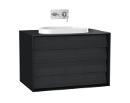 61464 - Frame Lavabo Dolabı, 80 cm, çift çekmeceli, tezgahüstü Tv-shape lavabolu, Mat Siyah