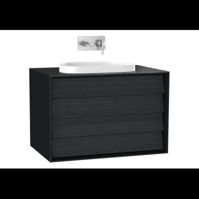 Frame Lavabo Dolabı, 80 cm, çift çekmeceli, tezgahüstü Tv-shape lavabolu, Mat Siyah