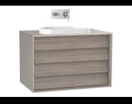 61465 - Frame Lavabo Dolabı, 80 cm, çift çekmeceli, tezgahüstü Tv-shape lavabolu, Mat Bej