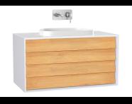 61466 - Frame Lavabo Dolabı, 100 cm, çift çekmeceli, tezgahüstü Tv-shape lavabolu, Mat Beyaz
