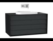 61467 - Frame Lavabo Dolabı, 100 cm, çift çekmeceli, tezgahüstü Tv-shape lavabolu, Mat Siyah