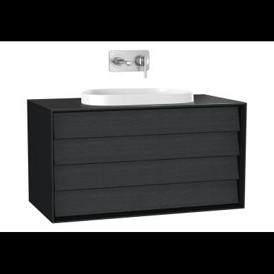 Frame Lavabo Dolabı, 100 cm, çift çekmeceli, tezgahüstü Tv-shape lavabolu, Mat Siyah