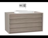61468 - Frame Lavabo Dolabı, 100 cm, çift çekmeceli, tezgahüstü Tv-shape lavabolu, Mat Bej