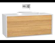 61469 - Frame Lavabo Dolabı, 120 cm, çift çekmeceli, tezgahüstü Tv-shape lavabolu, Mat Beyaz