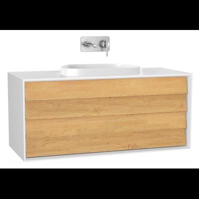 Frame Lavabo Dolabı, 120 cm, çift çekmeceli, tezgahüstü Tv-shape lavabolu, Mat Beyaz
